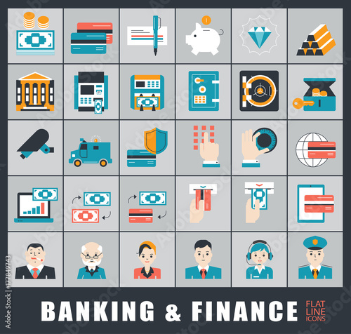 Fototapety, obrazy: Set of icons related to finance and banking. Collection of premium quality icons.