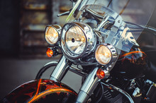 Headlamps Of A Classic Motorcy...
