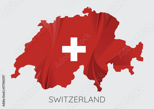 Map of Switzerland Billede på lærred