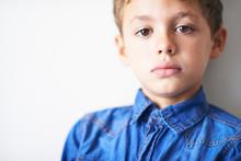Handsome Trendy Child Wearing Denim Shirt