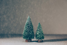 Still Life Of Two Christmas Tree With Snowflakes.