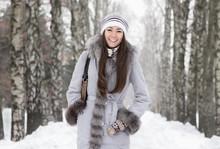 Young Beautiful Woman Walking ...