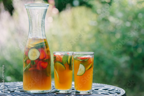 Glasses of refreshing summer cocktail drink