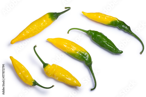 Cadres-photo bureau Hot chili Peppers Aji pineapple C. baccatum, paths, top view