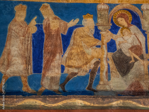 The holy kings bring their gifts to the Christ child. Wallpaper Mural