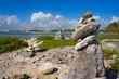 Akumal bay Cairn stone stacked Riviera Maya