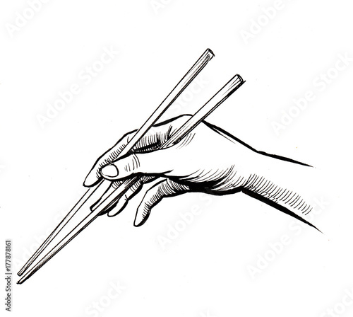Fotografie, Obraz  Hand with a chopsticks