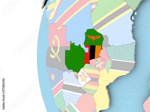 Fotobehang Art Studio Flag of Zambia on political globe