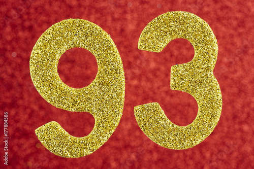 Fotografie, Obraz  Number ninety-three yellow color over a red background