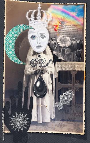 Papiers peints Imagination Collage e patchworks surreali e bizzarri con figure e simboli alchemici,astrologici,esoterici e misteriosi