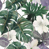 Watercolor seamless tropical pattern with exotic plants. Palm and deliciosa leaves. Jungle. - 177885586
