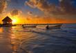 Holbox Island pier hut sunset beach in Mexico