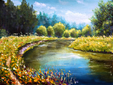 Original Oil Painting Bright Sunny Green Trees Are Reflected In The Water Illustration. Landscape Is Summer On Water. Nature. River Bank. Rural Landscape. Impressionism Painting.