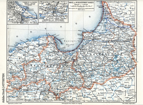 Fotografía  East and West Prussia (from Meyers Lexikon, 1896, 13/344/345)