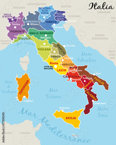 Cartina Italia Regioni Con Capoluoghi.Italia Divisa In 20 Regioni Con Capitale E Capoluoghi Buy This Stock Vector And Explore Similar Vectors At Adobe Stock Adobe Stock
