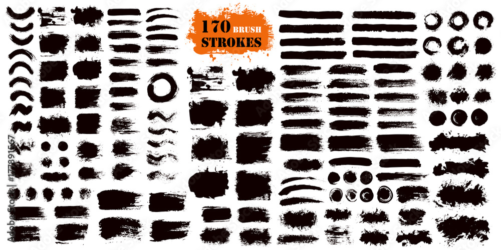 Fototapety, obrazy: Brush Stroke Paint Boxes Set