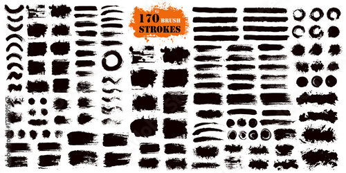 Deurstickers Vormen Brush Stroke Paint Boxes Set