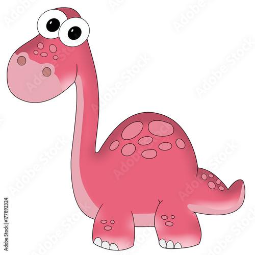 rozowy-dinozaur-na-bialym-tle