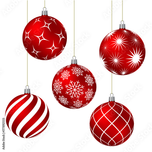 Cuadros en Lienzo Red christmas balls with different patterns