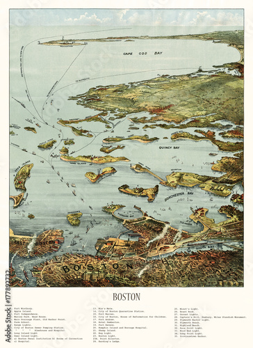 Old aerial view of Boston harbor and south shore, Massachusetts. Created and published by John Murphy, 1901