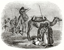 Old Illustration Of Arab Bedouins. Grayscale Execution By Unidentified Author, Published On The Penny Magazine, London, 1835