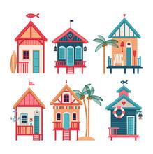 Summer Set Of Vector Beach Huts.