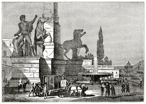 Keuken foto achterwand Nasa Old grayscale illustration of a ancient fountain close to other monuments. Fontana dei Dioscuri, Piazza del Quirinale, Rome. By unidentified author, published on Penny Magazine, London, 1835