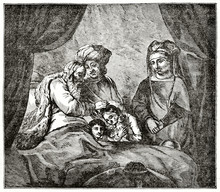 Old Grayscale Illustration Of A Aged Man In His Bed Giving A Bless To A Child. The Blessing Of Jacob. Created By Jackson After Rembrandt, Published On  Penny Magazine, London, 1835