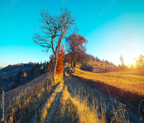 Keuken foto achterwand Turkoois Colorful autumn landscape in the mountain village. Foggy morning in the Carpathian mountains. Sokilsky ridge, Ukraine, Europe.