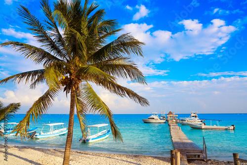 Photo Stands Caribbean Puerto Morelos beach in Riviera Maya