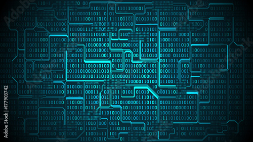 Abstract futuristic electronic circuit board with binary code, matrix background with digits, well organized layers