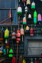 Old Colorful Buoys Hanging On ...