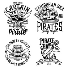 Set Of Vintage Pirate Emblems,...