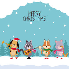 Merry Chrismtas Card Cartoon Icon Vector Illustration Graphic Design