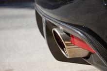 Exhaust Pipe Of A Black Aston Martin Super Car