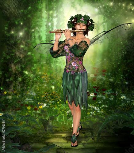 Fototapeta Urocza wróżka grająca na flecie