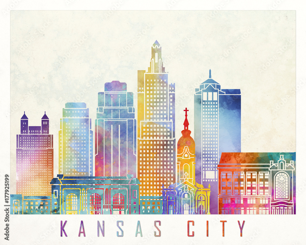 Kansas City zabytki akwarela plakat