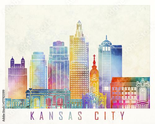 Pinturas sobre lienzo  Kansas City landmarks watercolor poster