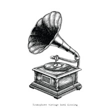 Gramophone Vintage Hand Drawing