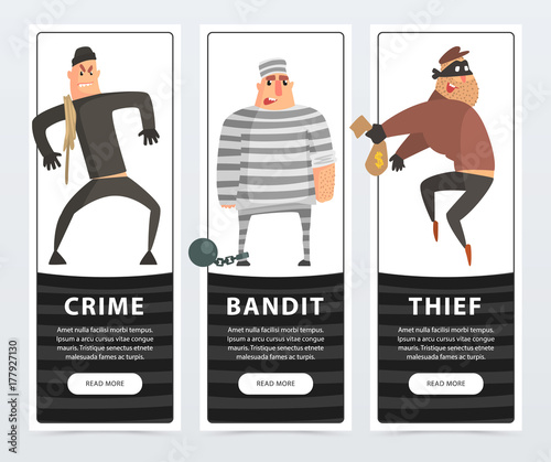 Crime, bandit, thief, criminal and convict banners cartoon vector ...