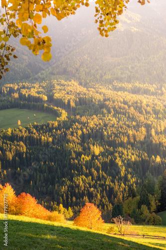 Plakat Jesień w Alpach, Funes Valley, Dolomity