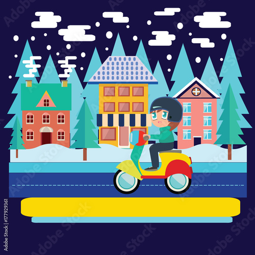 Photo  Winter city landscape and  Boy Riding scooter, motorcycle in flat vector illustration