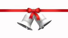 Decorative Red Bow With Horizontal Ribbon And Silver Bells