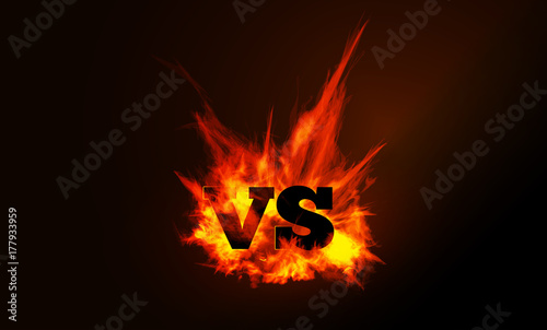 Photo VS comparison of a vector background with a fiery flame
