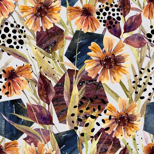 Photo sur Toile Empreintes Graphiques Autumn watercolor floral arrangement, seamless pattern.