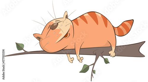 Papiers peints Chambre bébé Illustration of a Cute Cat. Cartoon Character