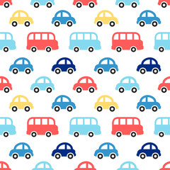 Tapeta Cute retro seamless boy pattern with colorful cars and buses