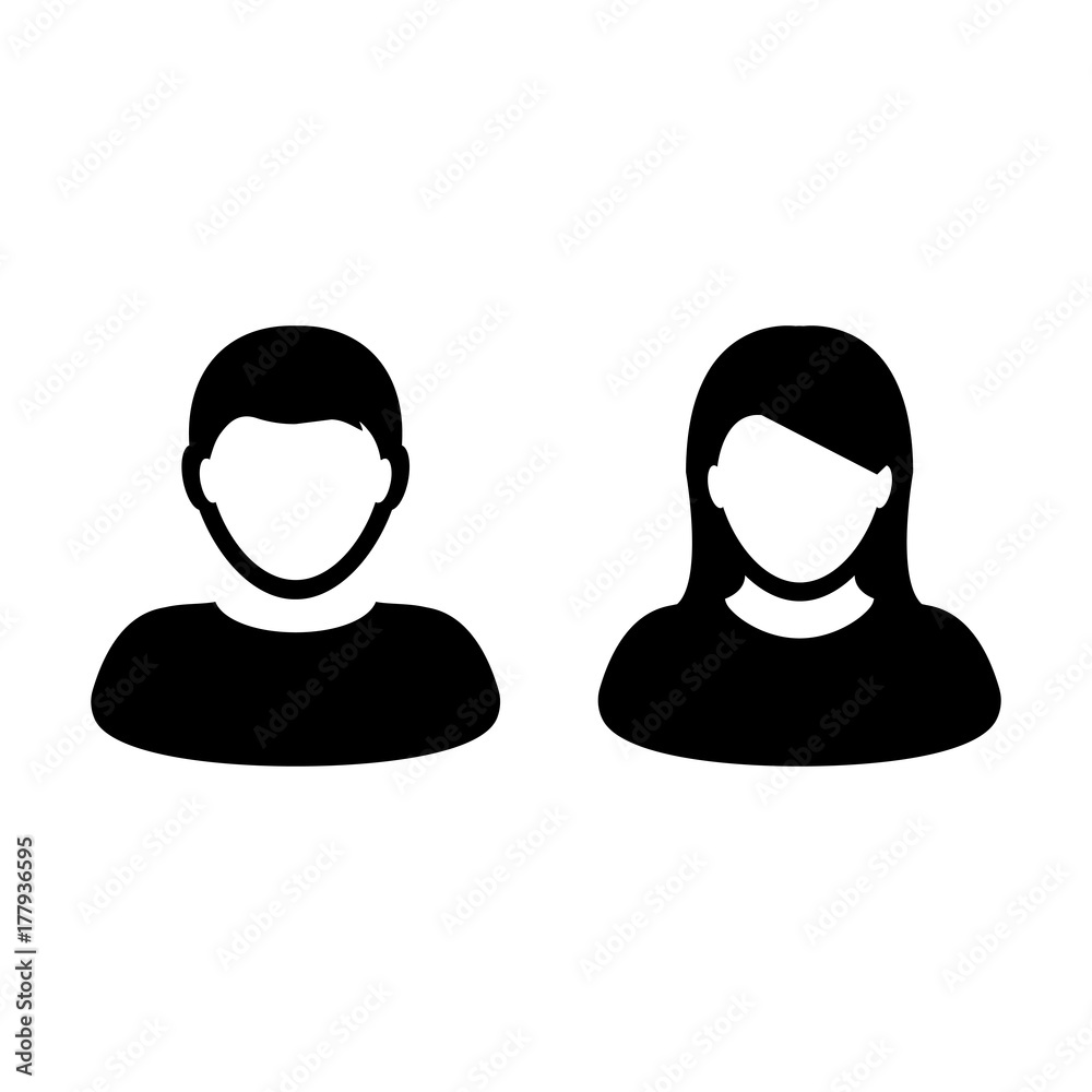Fototapeta People Icon Vector Male and Female Sign of User Person Profile Avatar Symbol in Glyph Pictogram illustration