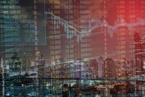 Garden Poster Milan Stock exchange graph chart analysis global financial statistic data