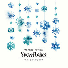 Elegant Watercolor Winter Christmas Snowflakes. Vector Illustration.